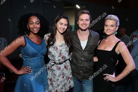 Simone Missick, Jessica Henwick, Finn Jones and Alice Eve from Netflix 'Marvel's Iron Fist' at panel at San Diego Comic-Con 2018