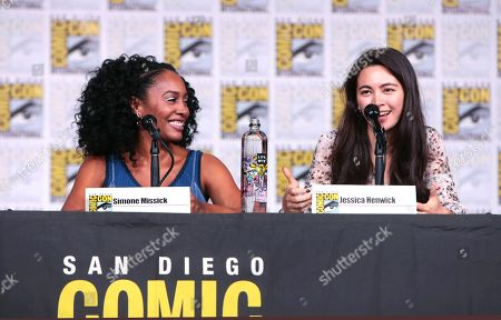 Simone Missick and Jessica Henwick from Netflix 'Marvel's Iron Fist' at panel at San Diego Comic-Con 2018