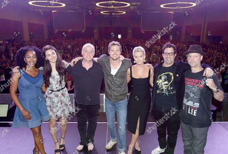 Simone Missick, Jessica Henwick, Jeph Loeb, Executive Producer, Head of Marvel Television, Finn Jones, Alice Eve, Raven Metzner, Executive Producer, and Clayton Barber, Stunt Coordinator, from Netflix 'Marvel's Iron Fist' at panel at San Diego Comic-Con 2018.