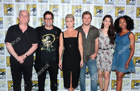Stock Image of Jeph Loeb, Executive Producer, Head of Marvel Television, Raven Metzner, Executive Producer, Alice Eve, Finn Jones, Jessica Henwick and Simone Missick from Netflix 'Marvel's Iron Fist' at panel at San Diego Comic-Con 2018.