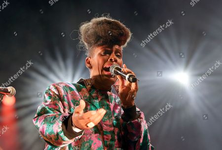 Stock Photo of Thomas de Pourquery. French-Cameroonian singer Sandra Nkake performs at the Five Continents Marseille Jazz festival, in Marseille, southern France