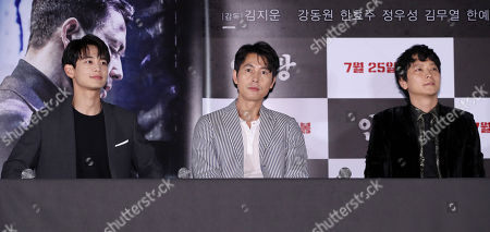 Actor Jung Woo-sung (C) attends an event in Seoul, South Korea, 20 July 2018, to promote the new film 'Illang: The Wolf Brigade', a story set in 2029 about a special police unit organized to stop an anti-reunification terrorist sect amid the two Koreas having agreed to launch a unified government. Attending the news conference are colleagues Gang Dong-won (L) and Jung and Cho Min-ho.