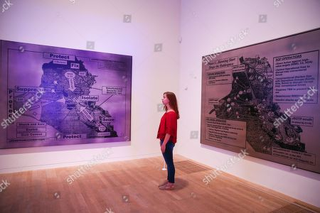A staff member looks at Jenny Holzer's Redaction Paintings (2006).