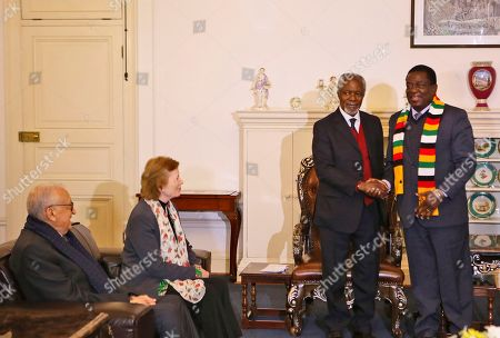 From left, members of the The Elders foundation Lakhdar Brahimi, Mary Robinson and Kofi Annan meet with Zimbabwean President Emmerson Mnangagwa at State House in Harare, Zimbabwe, Friday, July, 20, 2018. The visit to Zimbabwe is a key focus of concern for The Elders in providing support as the country prepares to hold elections on July 30