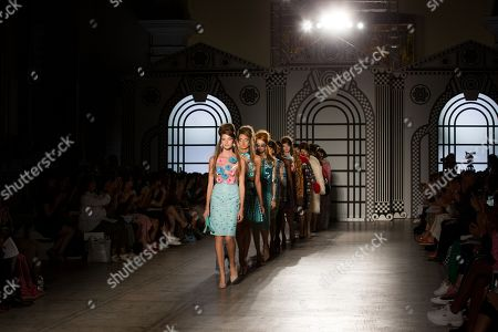 Models on the catwalk wearing Holly Fulton design.