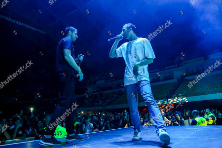 Portuguese hip hop artist Slow J (R) performs with guest artist Richie Campbell at the Super Bock Super Rock Festival in Lisbon, Portugal, 20 July 2018. The festival runs from 19 to 21 July.