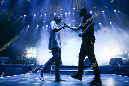 Portuguese hip hop artist Slow J (L) performs with guest artist Richie Campbell at the Super Bock Super Rock Festival in Lisbon, Portugal, 20 July 2018. The festival runs from 19 to 21 July.