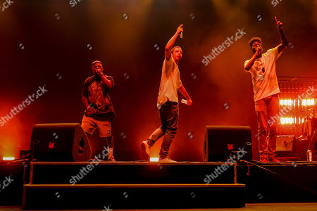 Portuguese hip hop artist Slow J (C) performs with guest artist Richie Campbell at the Super Bock Super Rock Festival in Lisbon, Portugal, 20 July 2018. The festival runs from 19 to 21 July.