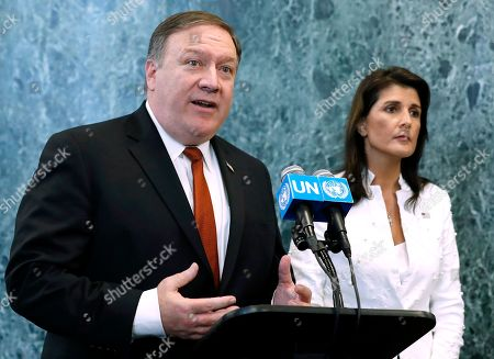 Mike Pompeo and Nikki Haley UN meeting, New York