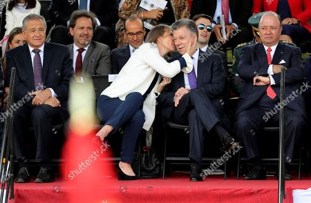 The President of Colombia Juan Manuel Santos (C-R), accompanied by his wife Maria Clemencia Rodriguez (C-L), attend the military parade on the occasion of the Independence of Colombia, in Bogota, Colombia, 20 July 2018.