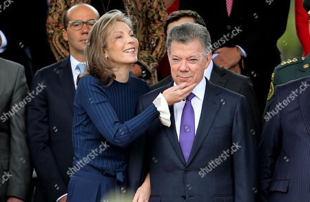 The President of Colombia Juan Manuel Santos (R), accompanied by his wife Maria Clemencia Rodriguez (L), attend the military parade on the occasion of the Independence of Colombia, in Bogota, Colombia, 20 July 2018.