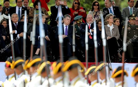 The President of Colombia Juan Manuel Santos (C-R), and his wife Maria Clemencia Rodriguez (C-L), during the military parade on the occasion of the Independence of Colombia, in Bogota, Colombia, 20 July 2018.