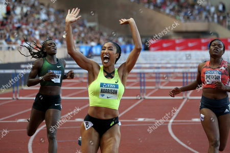 Queen Harrison of USA competes in the 100m Hurdles Women event during the IAAF Diamond League meeting at the Stade Louis II in Monaco, 20 July 2018.