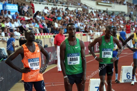 Stock Photo of The Winner Nijel Amos of  Botswana with Harun Abda of USA  and Jonathan Kitilit of Kenya compete in the 800m Men event during the IAAF Diamond League meeting at the Stade Louis II in Monaco, 20 July 2018.