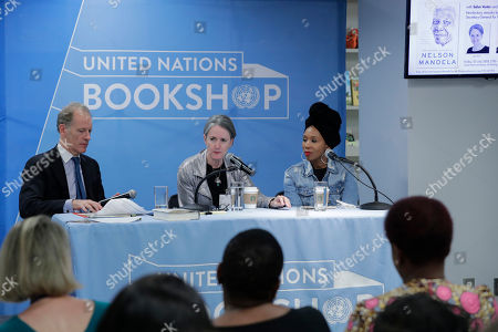 Stock Picture of Book Launch Event in honor of the Nelson Mandela Centenary with Sahm Venter, journalist, and Zamaswazi Dlamini-Mandela, granddaughter of Nelson Mandela and Winnie Madikizela-Mandela today at the UN Headquarters in New York City.