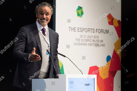 Canadian-Bahamian film and television actor, businessman, retired basketball player, and esports franchise owner Rick Fox speaks during the opening of the first edition of the International Olympic Committee (IOC) Esports Forum at the Olympic Museum, in Lausanne, Switzerland, 21 July 2018.