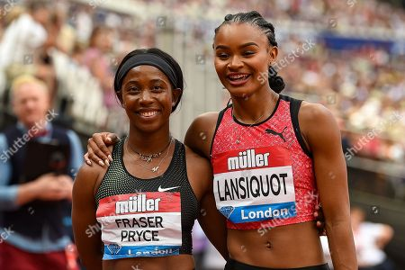 Imani-Lara Lansiquot of Great Britain after the Women's 100 m Final celebrates with the winner Shelly-Ann Fraser-Pryce of Jamaica during the Muller Anniversary Games, Day One, at the London Stadium, London. Picture by Martin Cole