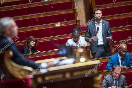 French member of far-left political party 'La France Insoumise' Ugo Bernalicis speaks as members of Parliament participate in a debate session of the National Assembly's Laws Committee, in Paris France 21 July 2018.The debate is concerning the commission of inquiry that will hear President Macron's security officials and ministers involved with the Benalla scandal. Parliamentary proceedings are disrupted by opposition MPs following the scandal of President Macron's security chief Alexandre Benalla.  A video has been released on 19 July 2018 showing Alexandre Benalla, French President Emmanuel Macron's deputy chief of staff, wearing a riot helmet and police uniform, allegedly attacking protesters during street demonstrations on 01 May 2018.