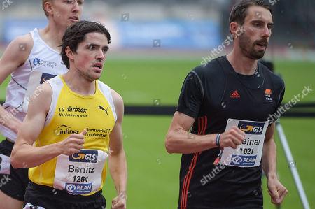 1500m Maenner HF, left Timo Benitz, LG Nordschwarzwald and Sebastian Keiner, LAC Erfurt ,German Meisterschaften Athletics 2018,Nuernberg, 21.07 - 22.07.2018