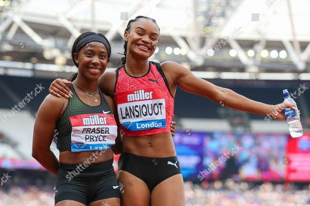 Shelly-Ann FRASER-PRYCE of Jamaica, winner of the Women's 100m poses with Imani-Lara LANSIQUOT of Great Britain during the 2018 Müller Anniversary Games at the London Stadium, London. Picture by Toyin Oshodi