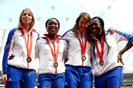 Stock Photo of The Great Britain Womens 4x400m team of Nicola Sanders, Marilyn Okoro, Kelly Sotherton and Christine Ohuruogu celebrate receiving a bronze medal from the 2008 Beijing Olympics after disqualification of the previous bronze medalists.