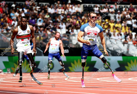 Stock Image of Richard Whitehead of Great Britain and Ntando Mahlangu of South Africa during the Mens T61 200m.