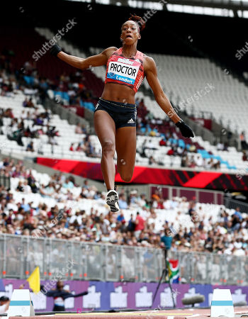 Shara Proctor of Great Britain in action on her way to winning the Women's Long Jump.