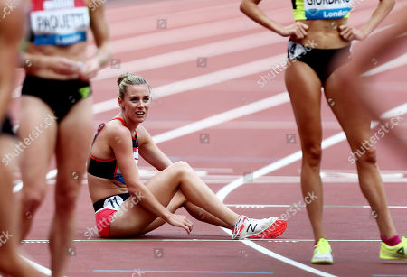 Melissa Courtney of Great Britain looks dejected after the Women's 3000m.