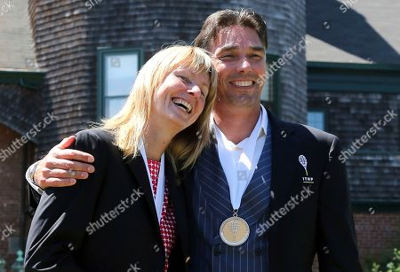 Michael Stich, Helena Sukova. Tennis Hall of Fame inductees, Helena Sukova, of Czech Republic, and Michael Stich, of Germany, pose together during ceremonies at the International Tennis Hall of Fame, in Newport, R.I