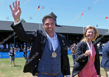 Michael Stich, Helena Sukova. Tennis Hall of Fame inductees, Michael Stich, of Germany, and Helena Sukova, of Czech Republic, wave to fans during ceremonies at the International Tennis Hall of Fame, in Newport, R.I