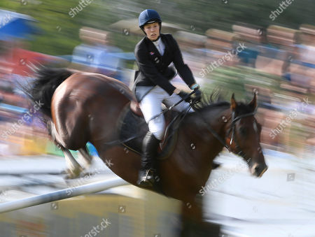 Samantha Murray of Great Britain competes in the women's equestrian show jumping event during the Modern Pentathlon European Championship in Szekesfehervar, 63 kms southwest of Budapest, Hungary, 21 July 2018.