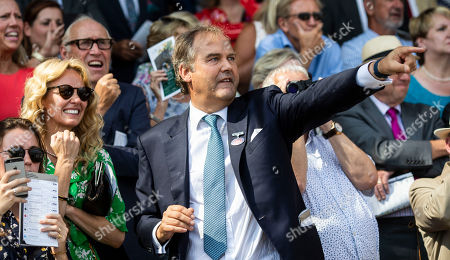 Harry Herbert, Highclere Thoroughbred Racing, cheers on Snazzy in the The Weatherbys Super Sprint Stakes