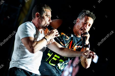 Rappers Joey Starr (R) and Kool Shen (L) of French hip-hop band Supreme NTM perform on the main stage during the 43rd Paleo Festival in Nyon, Switzerland, 21 July 2018 (issued 22 July 2018). The open-air music festival runs from 17 to 22 July.