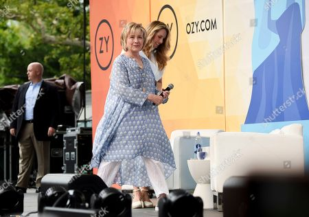 Former First Lady of The United States, Democratic presidential candidate and former Secretary of State Hillary Rodham Clinton arrives on stage for a conversation with Laurene Powell Jobs at OZY Fest in Central Park, in New York