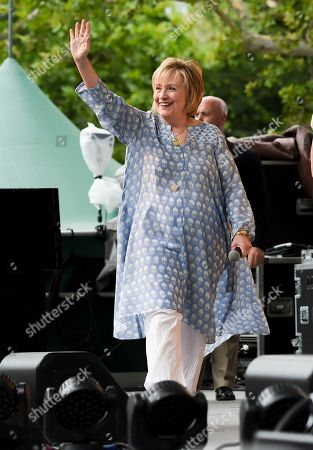 Former First Lady of The United States, Democratic presidential candidate and former Secretary of State Hillary Rodham Clinton waves to the crowd before a conversation with Laurene Powell Jobs at OZY Fest in Central Park, in New York