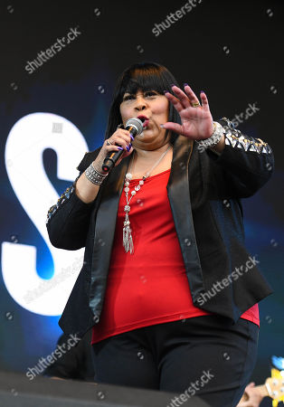 Stock Image of Martha Wash performing live at 80s extravaganza Rewind Festival, Scone Palace, near Perth, Scotland
