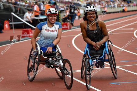 Hannah Cockroft of Great Britain and Kare Adenegan of Great Britain during the Muller Anniversary Games, Day Two, at the London Stadium, London. Picture by Martin Cole