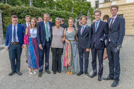 Gloria von Thurn und Taxis, daughter, Princess Maria Theresia of Thurn Taxis and husband Hugo Wilson, nephews and nieces