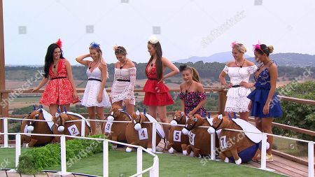 Alexandra Cane, Laura Anderson, Megan Barton Hanson, Stephanie Lam, Dani Dyer, Laura Crane and Kazimir Crossley at Ladies' Day challenge.