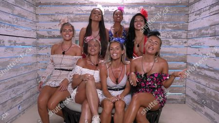 Alexandra Cane, Laura Anderson, Megan Barton Hanson, Stephanie Lam, Dani Dyer, Laura Crane and Kazimir Crossley in the Beach Hut before the Ladies' Day challenge.