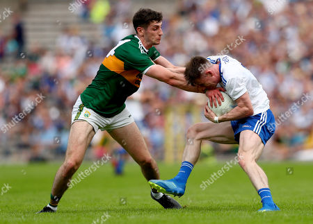 Monaghan vs Kerry. Kerry's Paul Geaney and Karl O?Connell of Monaghan