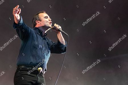 Stock Picture of Samuel Herring of Future Islands performing on the Lovell Stage