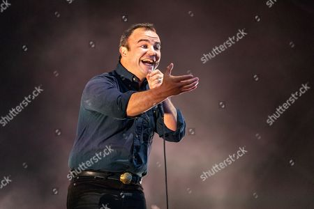 Samuel Herring of Future Islands performing on the Lovell Stage