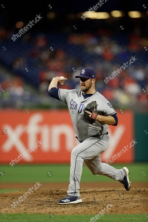 San Diego Padres' Phil Hughes in action during the second baseball game of a double header against the Philadelphia Phillies, in Philadelphia