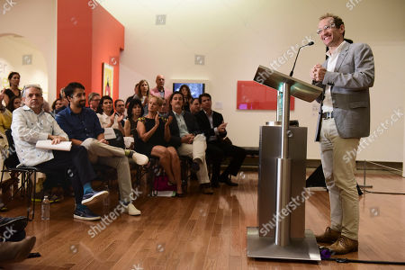 Jeffrey Seller, producer of the musical Hamilton and colleague of Lin-Manuel Miranda, offers statements during a press conference at the Art Museum of Puerto Rico in San Juan, Puerto Rico, . Lin-Manuel Miranda announced he has helped create a multimillion-dollar fund to boost the arts in the U.S. territory as it struggles to recover from Hurricane Maria