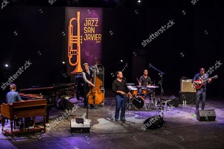 Stock Photo of US' Jazz band 'Kurt Elling Quintet' performs on stage introducing their last album 'The Questions' during the San Javier's Jazz Festival concert played in Murcia, southeastern Spain, 22 July 2018.
