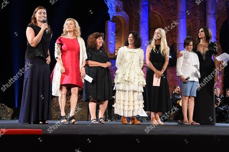 The jury of the 64th Taormina Film Fest composed by Martha De Laurentis, Eleonora Granata, Maria Grazia Cucinotta, Donatella Palermo and Adriana Chiesa premier Sabrina Parravicini and her son Nino Monteleone