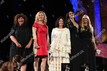 Stock Image of The jury of the 64th Taormina Film Fest composed by Martha De Laurentis, Eleonora Granata, Maria Grazia Cucinotta, Donatella Palermo and Adriana Chiesa