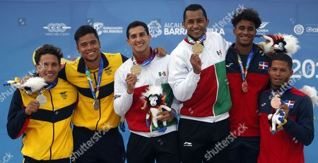 Colombian divers Alejandro Arias (L) and Sebastian Morales (2-L), Mexican divers Rommel Pacheco (3-L) and Jahir Ocampo (3-R) and Dominican divers Jose Calderon (2-R) and Frandiel Gomez (R) pose with their silver, gold and bronze medals respectively in the final of the synchronized 3m men's trampoline during the XXIII Central American and Caribbean Games in Barranquilla, Colombia, 22 July 2018.