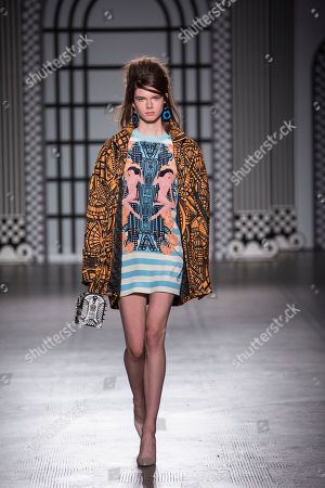 Model on the catwalk wearing Holly Fulton design.